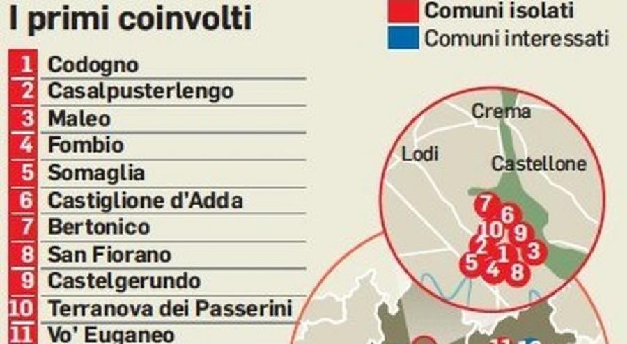 ALERTĂ în Italia din cauza Coronavirusului: 11 localități au fost închise, 2 persoane au murit și peste 100 sunt contaminate